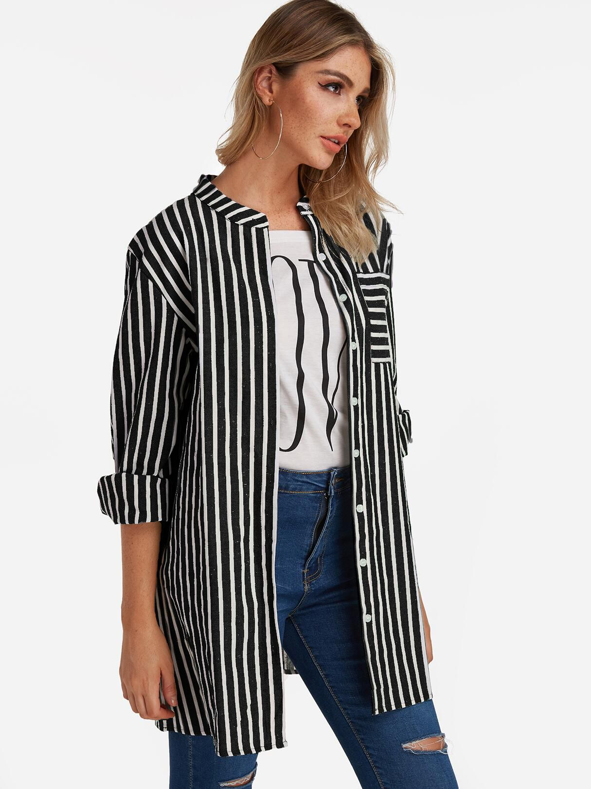 Striped Long Sleeve Shirts for Women with Blue jeans