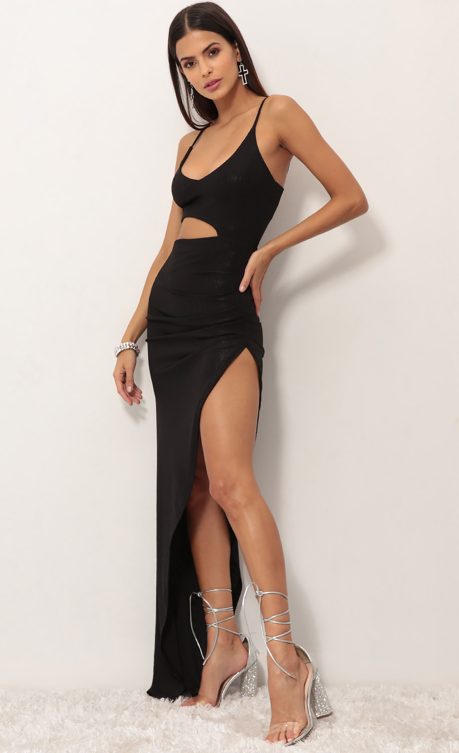 Side Cut Out Maxi Dress with accessories
