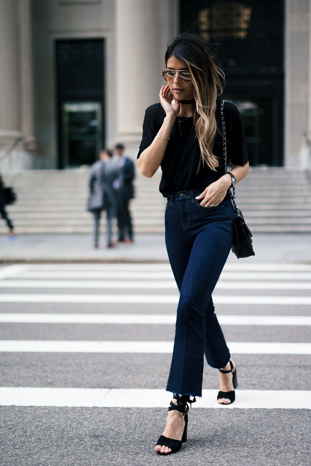 Kick Flare Jeans with strap heels