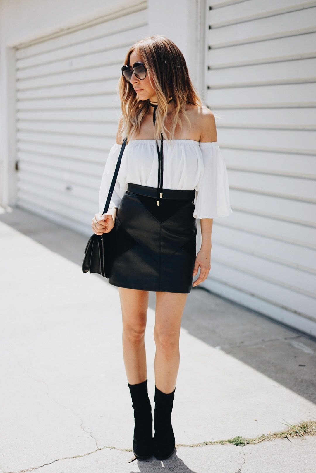 leather skirt with Off-shoulder top