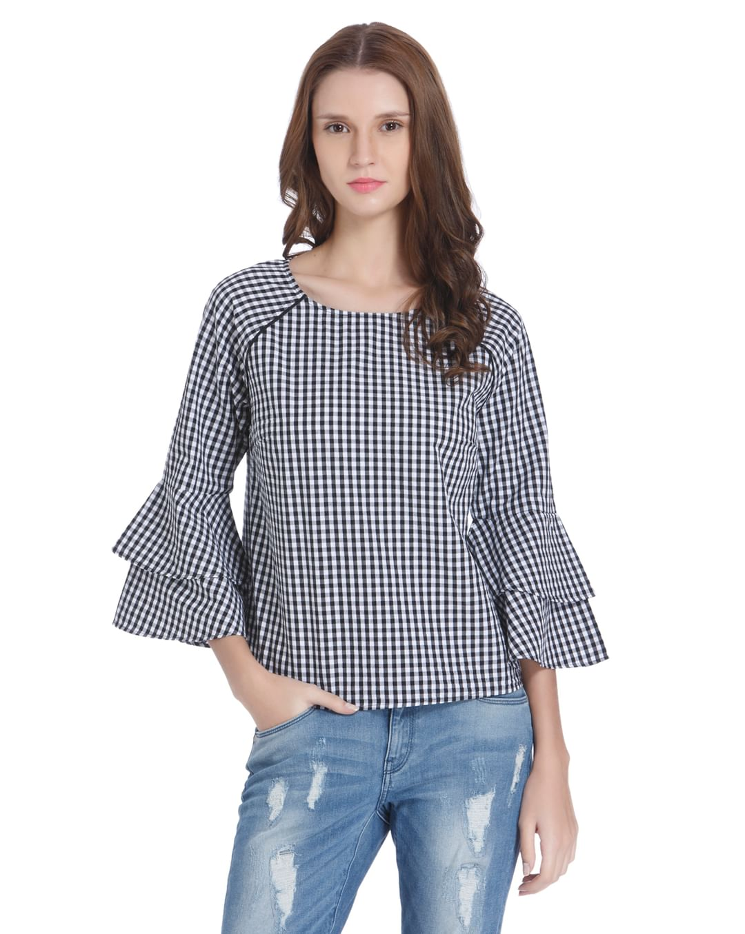 white Gingham Top