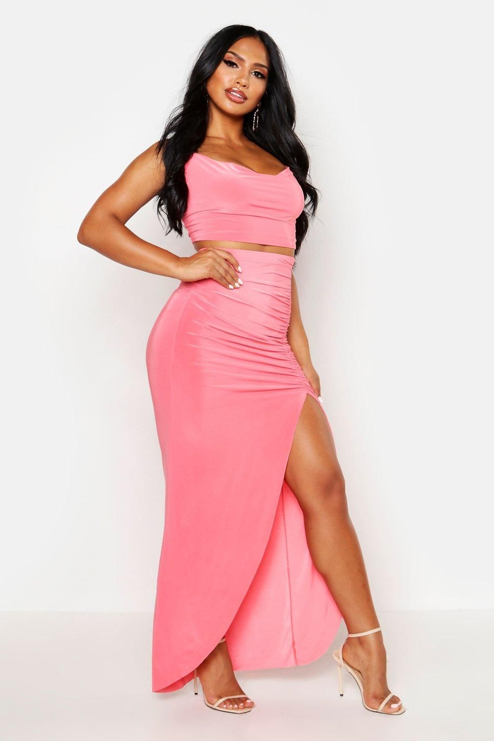 Cowl Neck Top with Side Slit Maxi Skirt