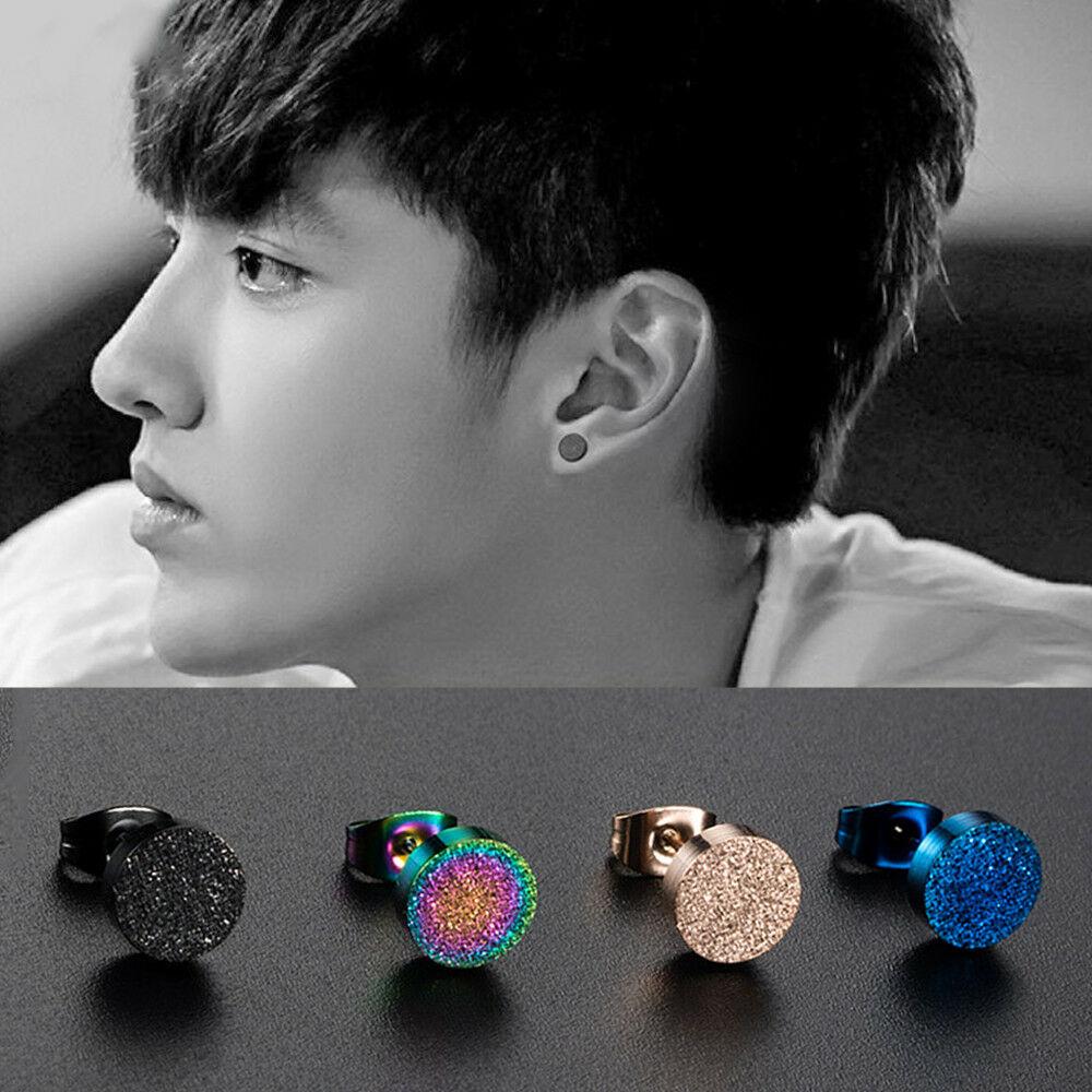 1Pcs Men Jewelry Ear Stud Colorful Earring Anti-allergy Earlobe Piercing