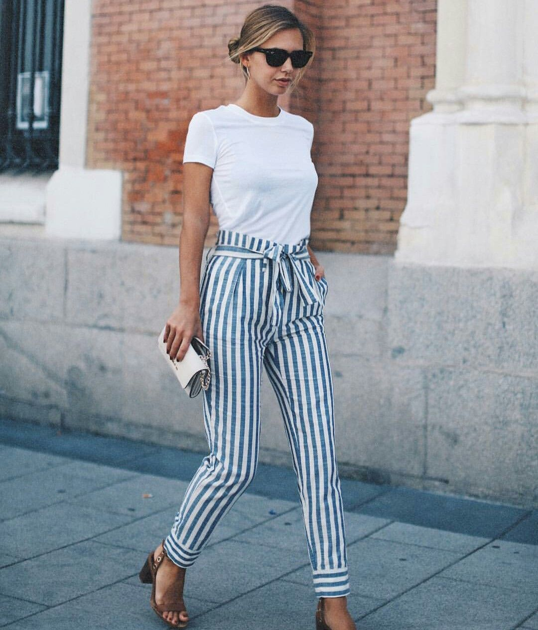 Women Striped Pants with white shirt