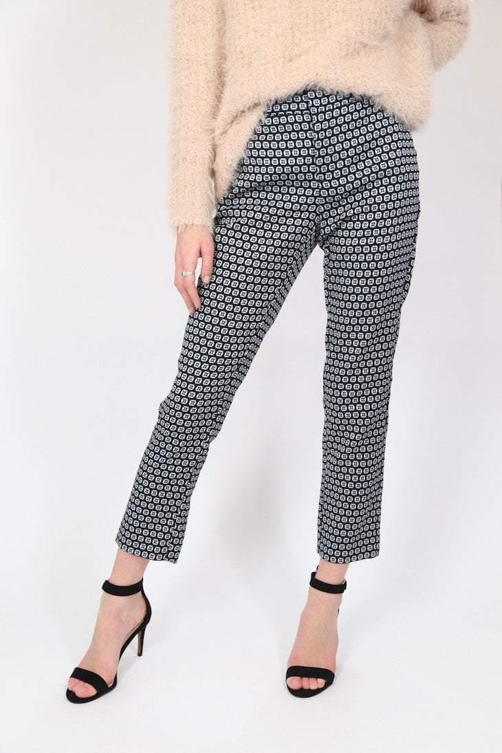2000s Women's Patterned Trousers - Blue 30W
