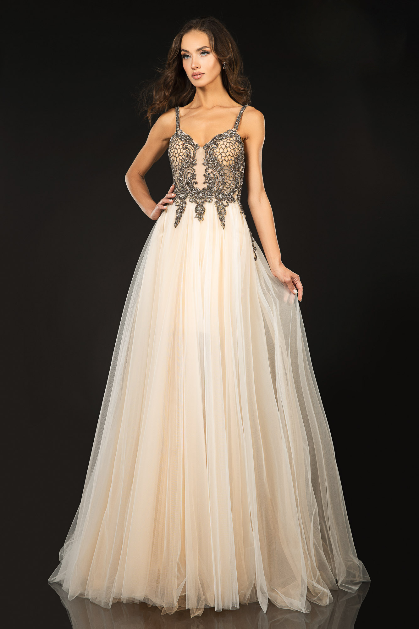 Tulle Strapped Gown
