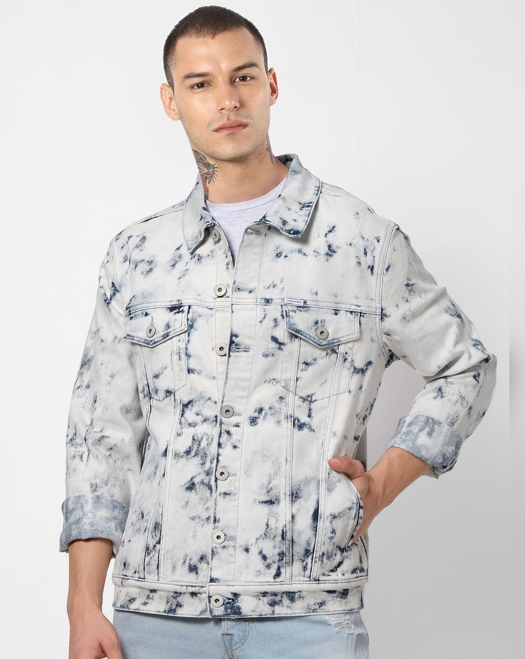 Mens Acid Washed Colour Denim Shirt