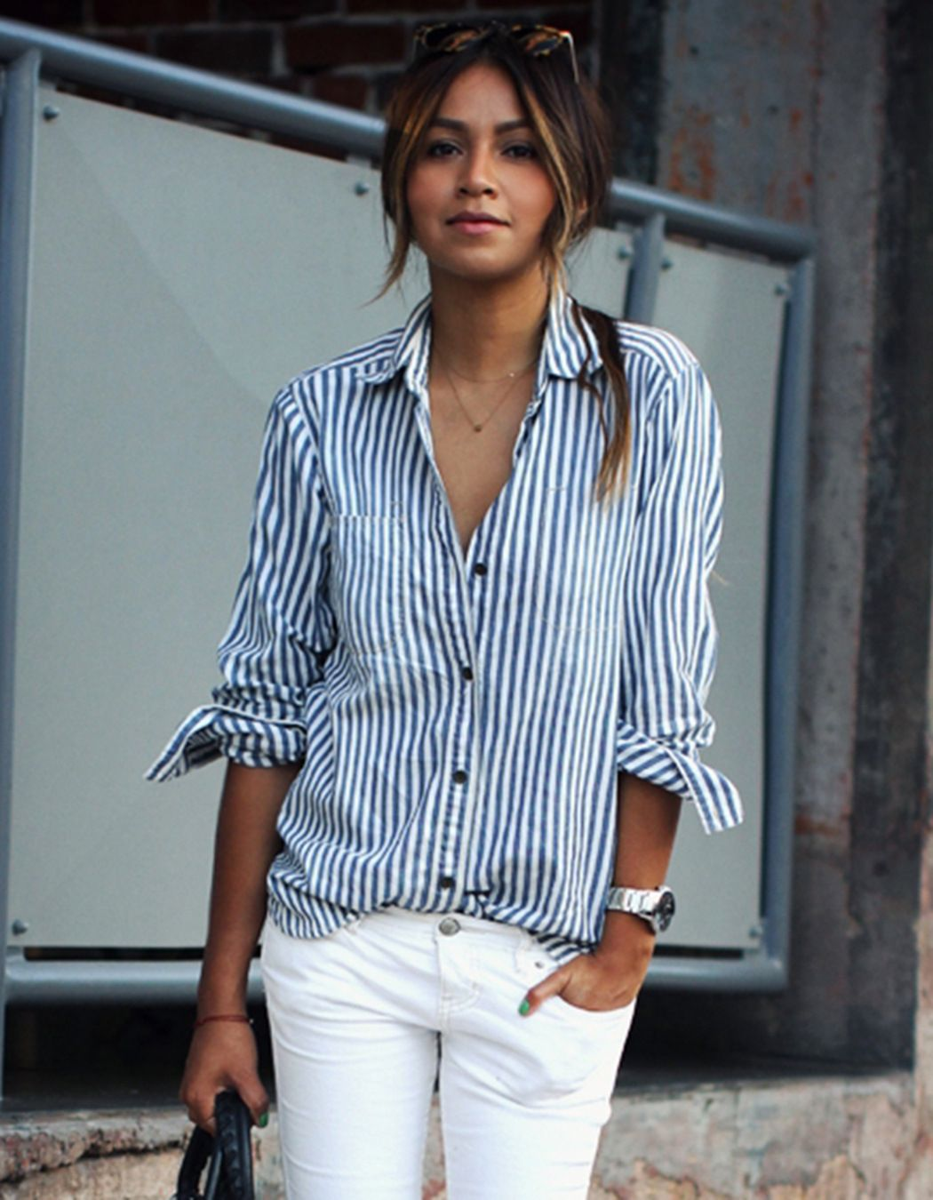 Vertical striped long sleeve shirts for women
