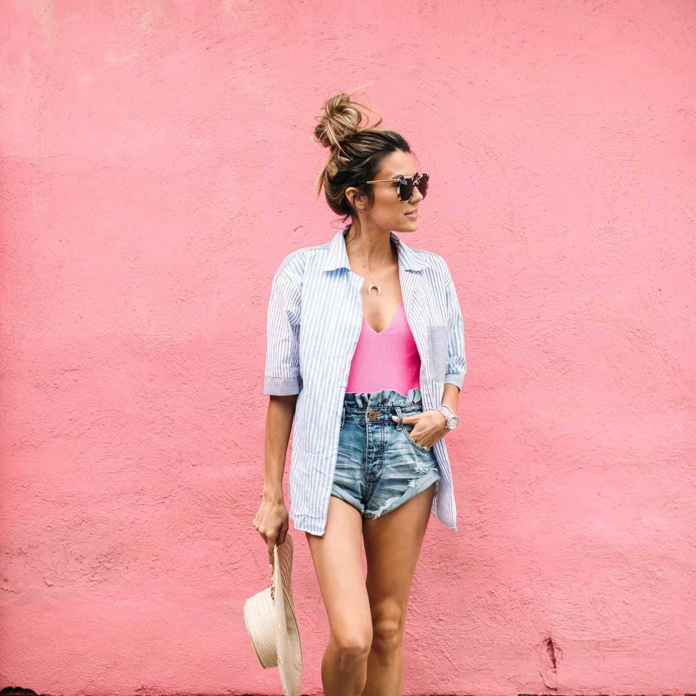 women beach Button-Down shirt with short