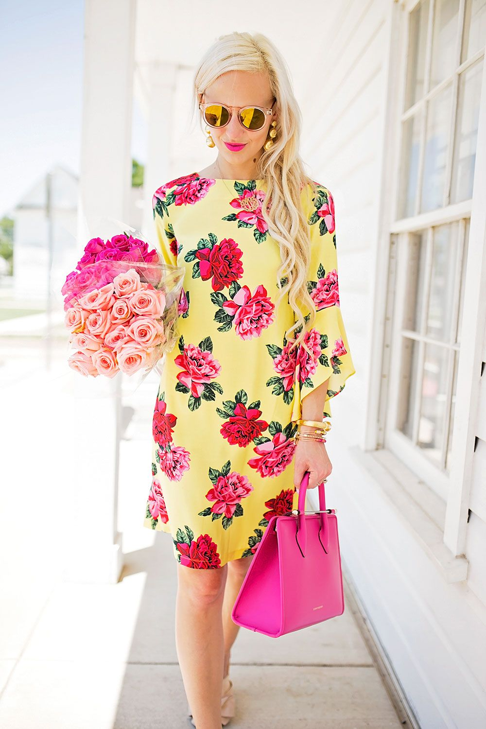 yellow with pink dress