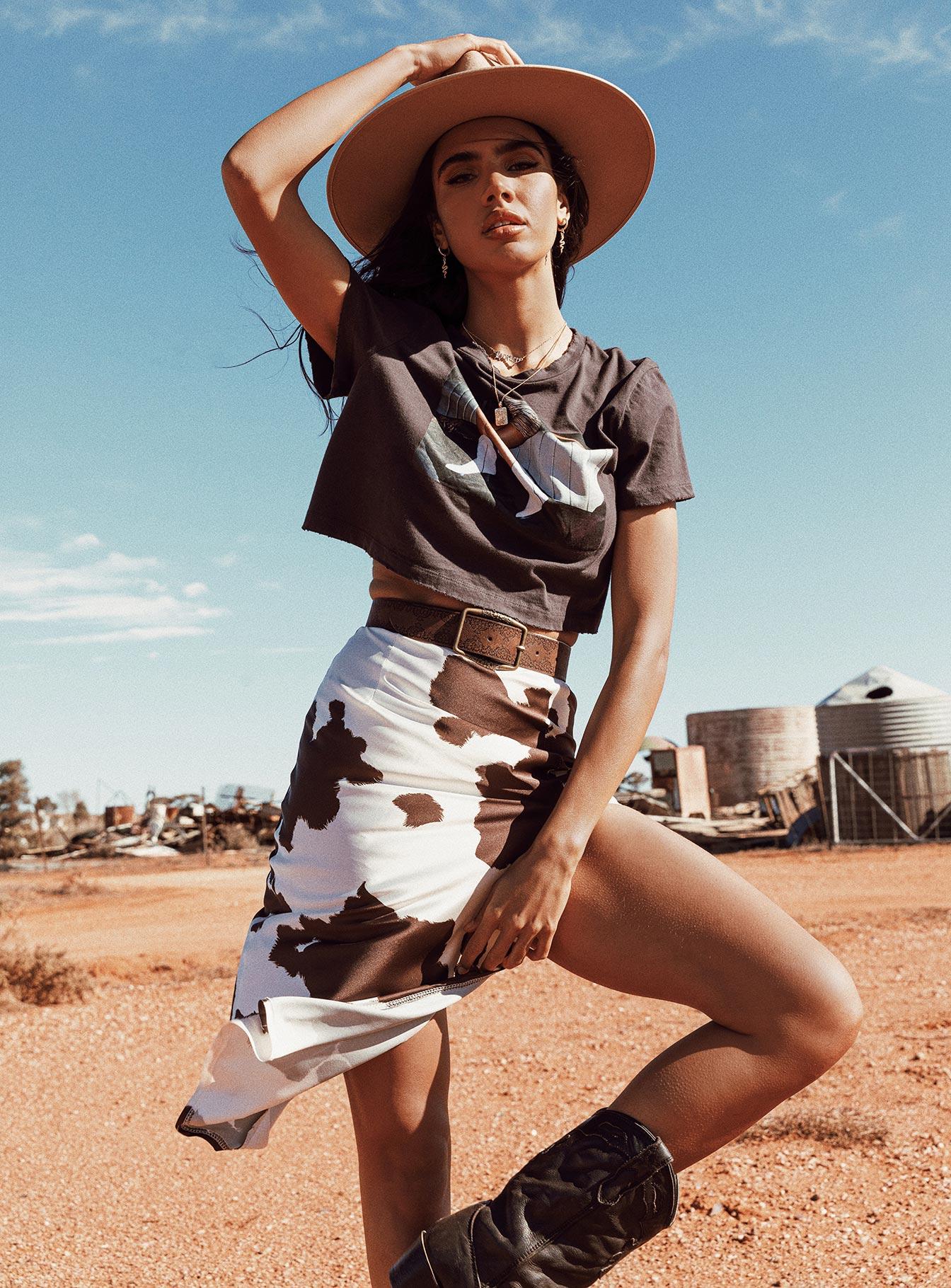 cow-print slip skirt