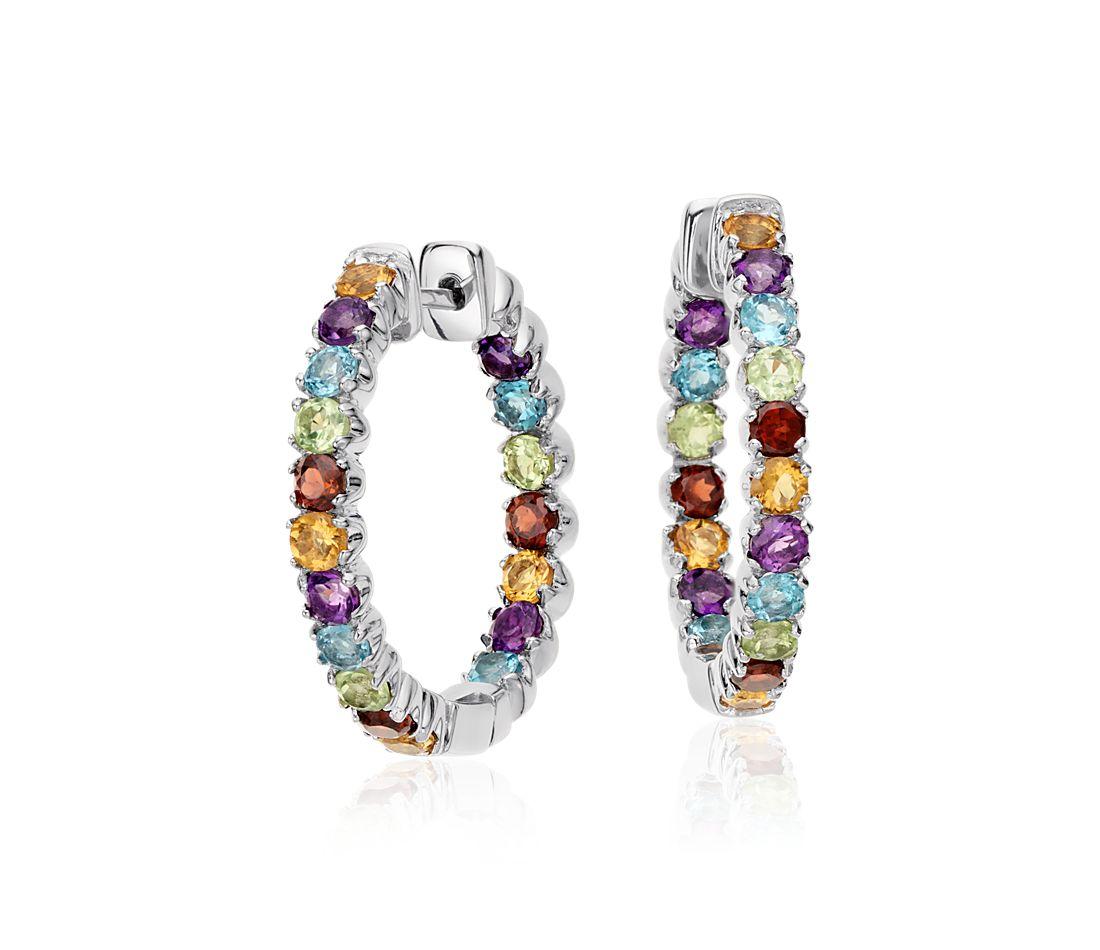 Colourful Gemstone Hoop Earrings for Men