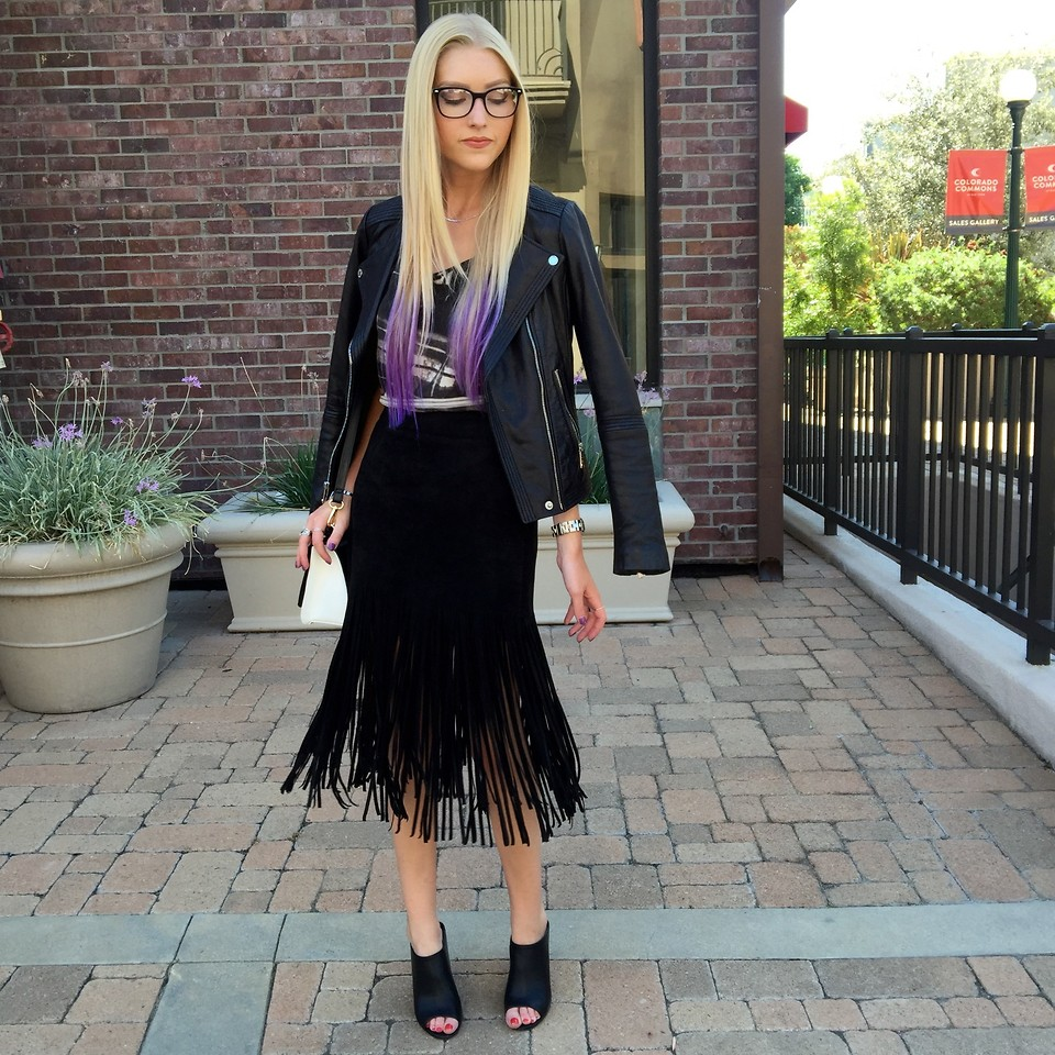 Fringed leather skirt with blazer
