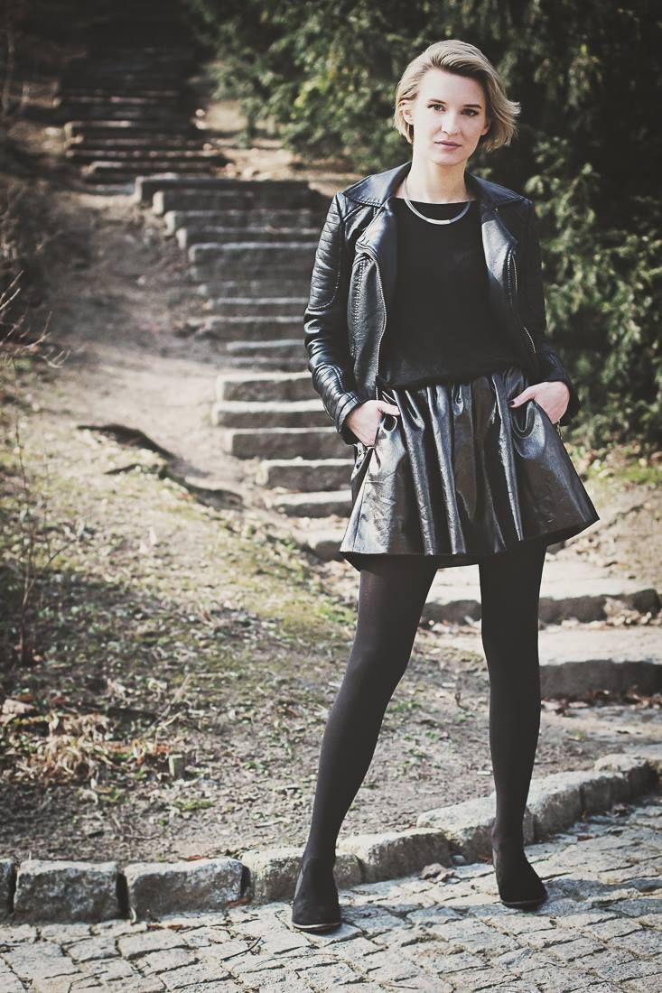 Leather skater skirt with jacket