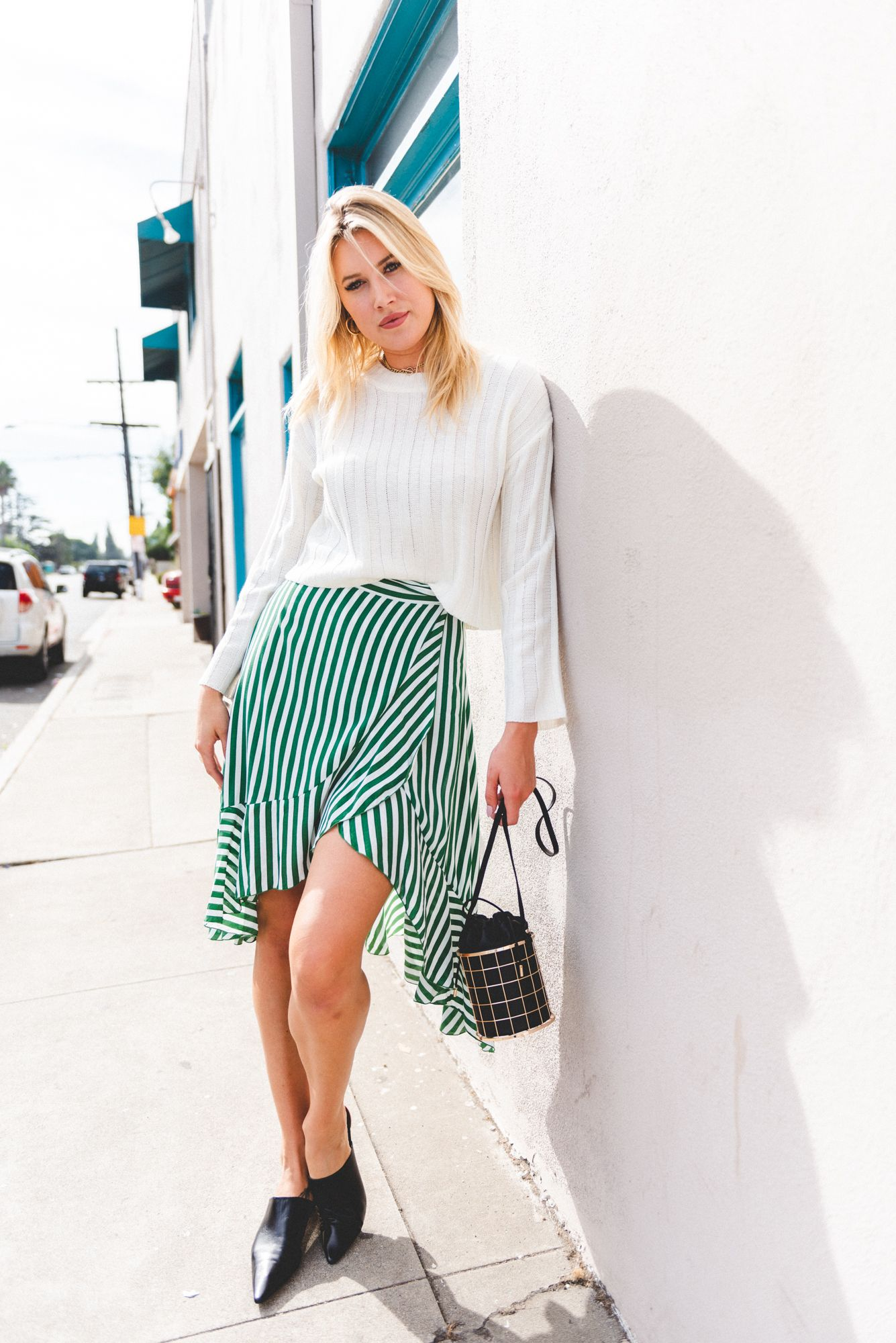 wrap skirt with chunky jumper