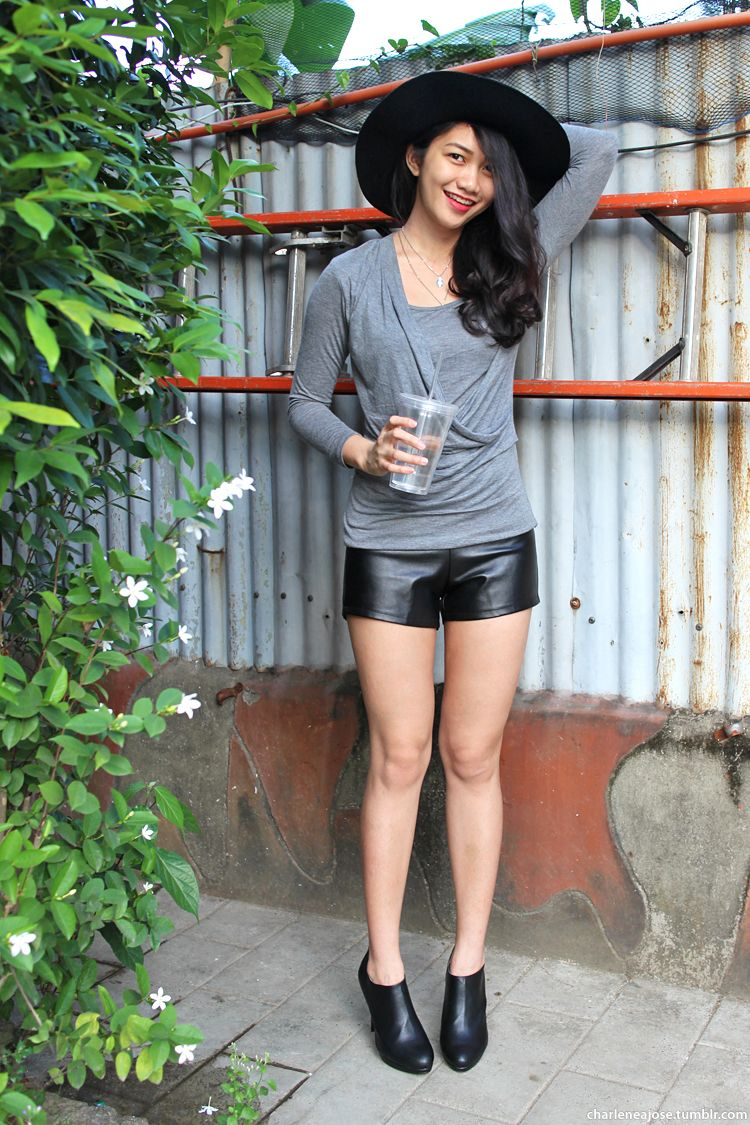 Black Leather Shorts with Leather Ankle Boots