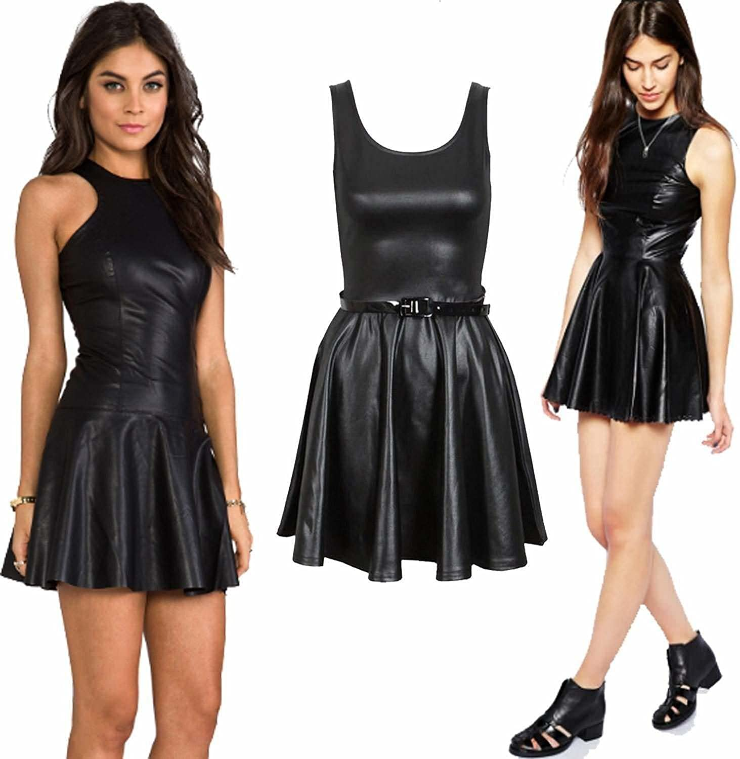 Prettymake Womens Wet Look PVC Belted Plus Size Flared Celebrity Skater Dress 8-26