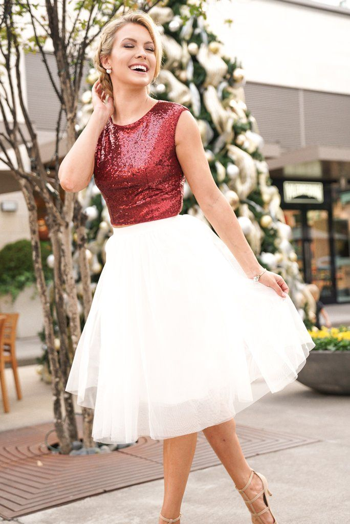 metallic top with your white tulle skirt