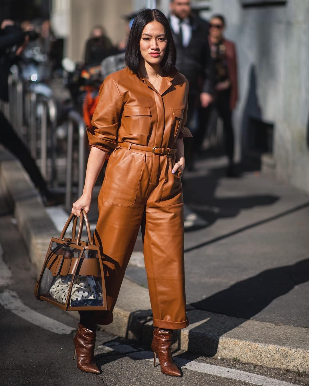 Leather boiler suit trends