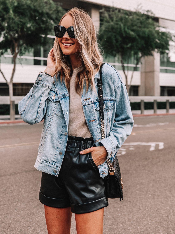 Black Leather Shorts with Denim Jacket