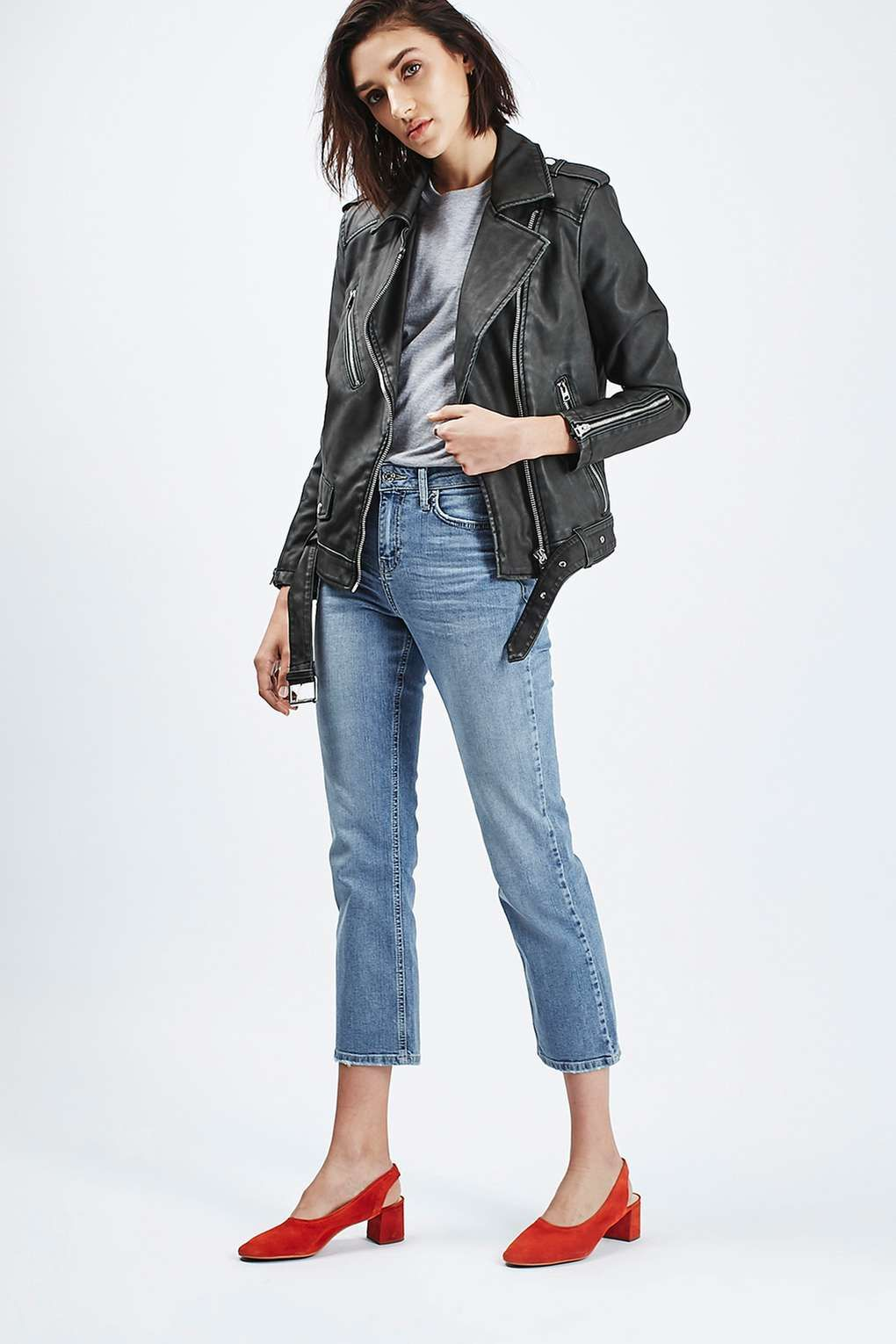 Kick Flare Jeans with Leather Jacket