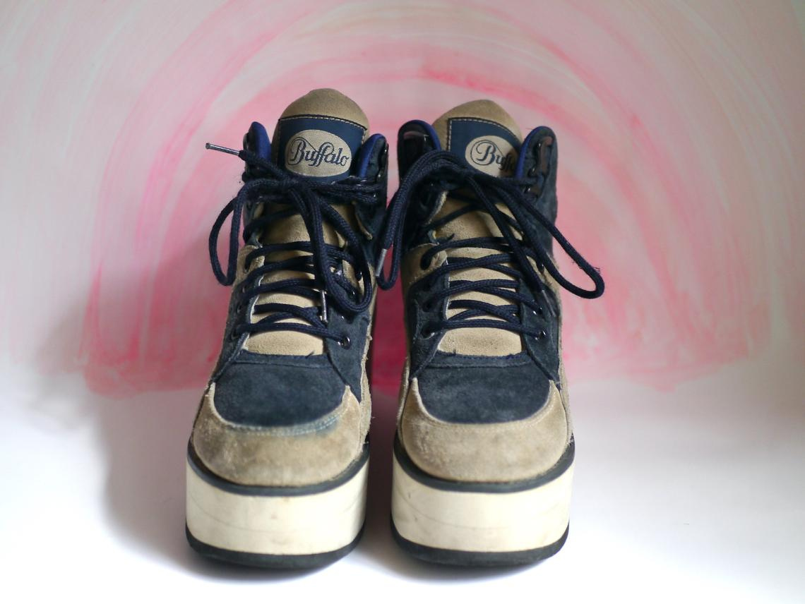 90s Buffalo Platform Sneakers, Suede leather, DE 38, techno boots Buffalo London