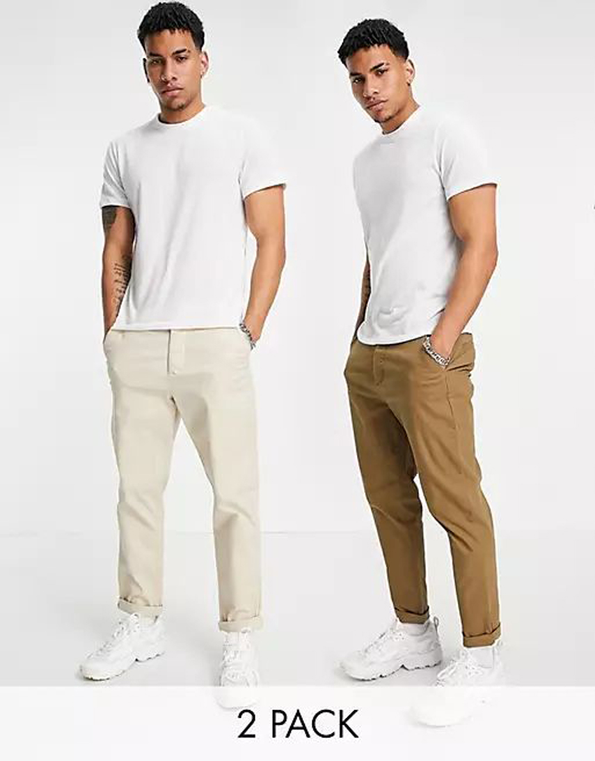 ASOS DESIGN 2 pack tapered chinos in brown and beige save
