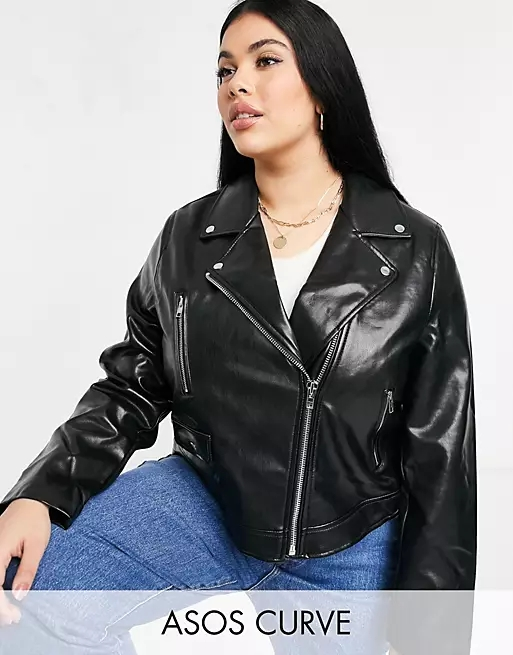 ASOS DESIGN Curve ultimate faux leather biker jacket in black