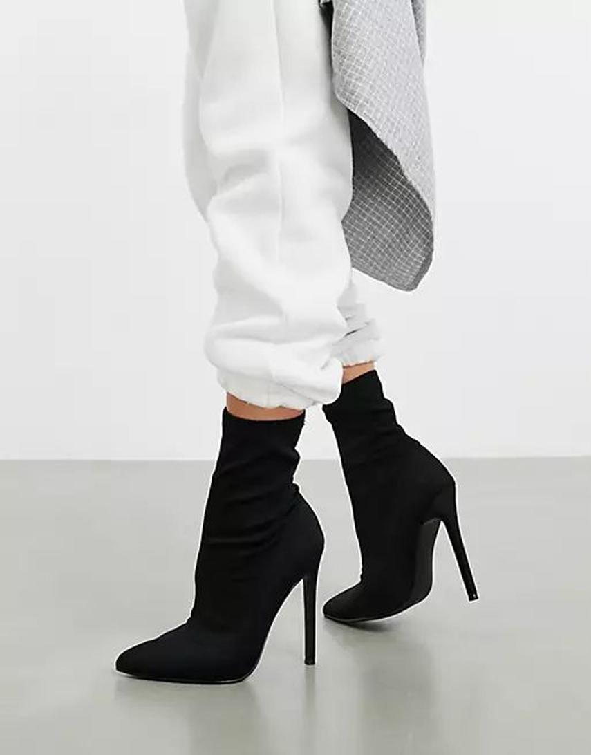 ASOS DESIGN Esmerelda high heeled sock boots in black