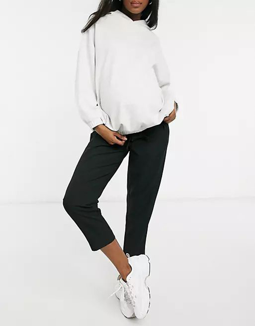 ASOS DESIGN Maternity under bump tailored tie waist tapered ankle grazer trousers