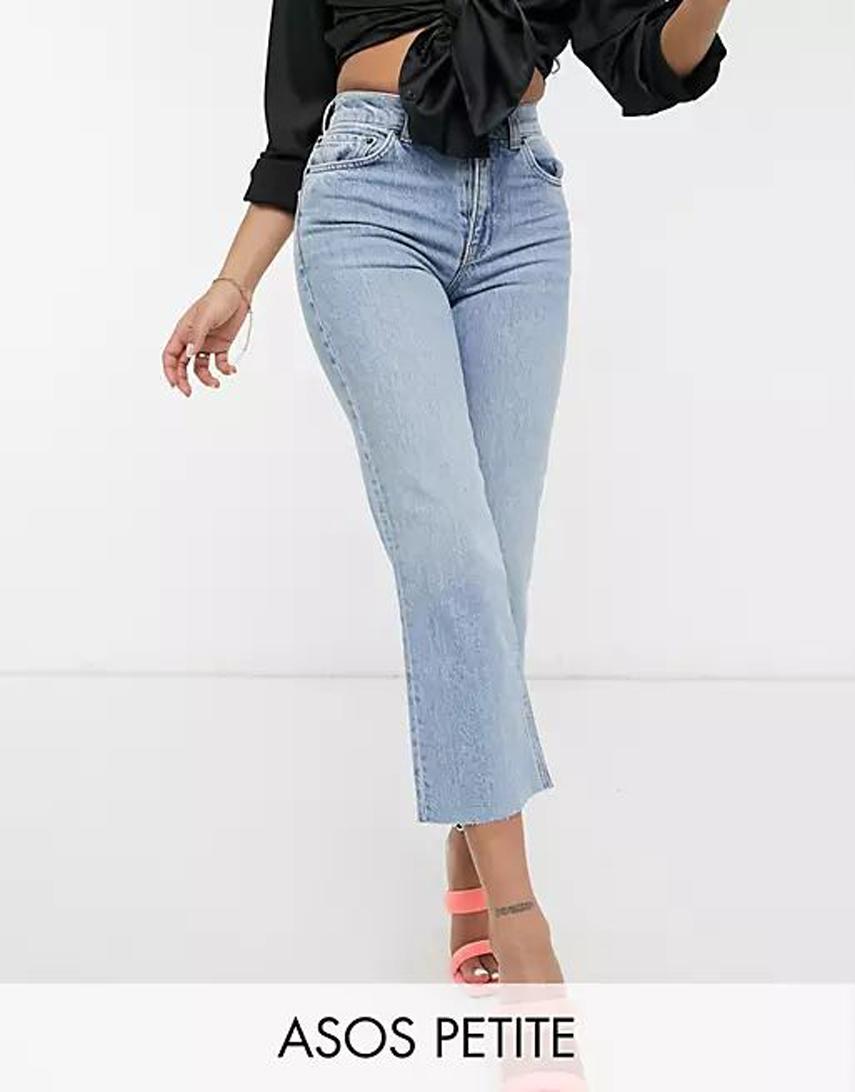 ASOS DESIGN Petite high rise stretch 'effortless' crop kick flare jeans in lightwash