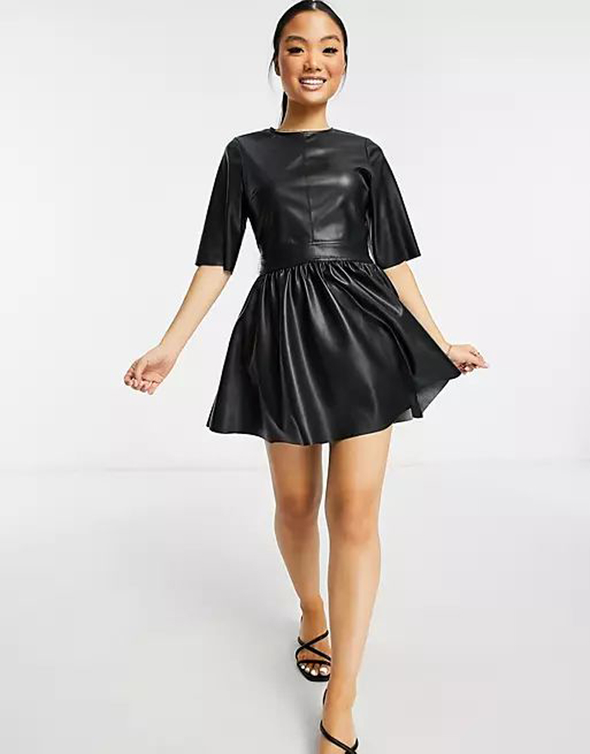ASOS DESIGN Petite leather look t-shirt mini skater dress in black