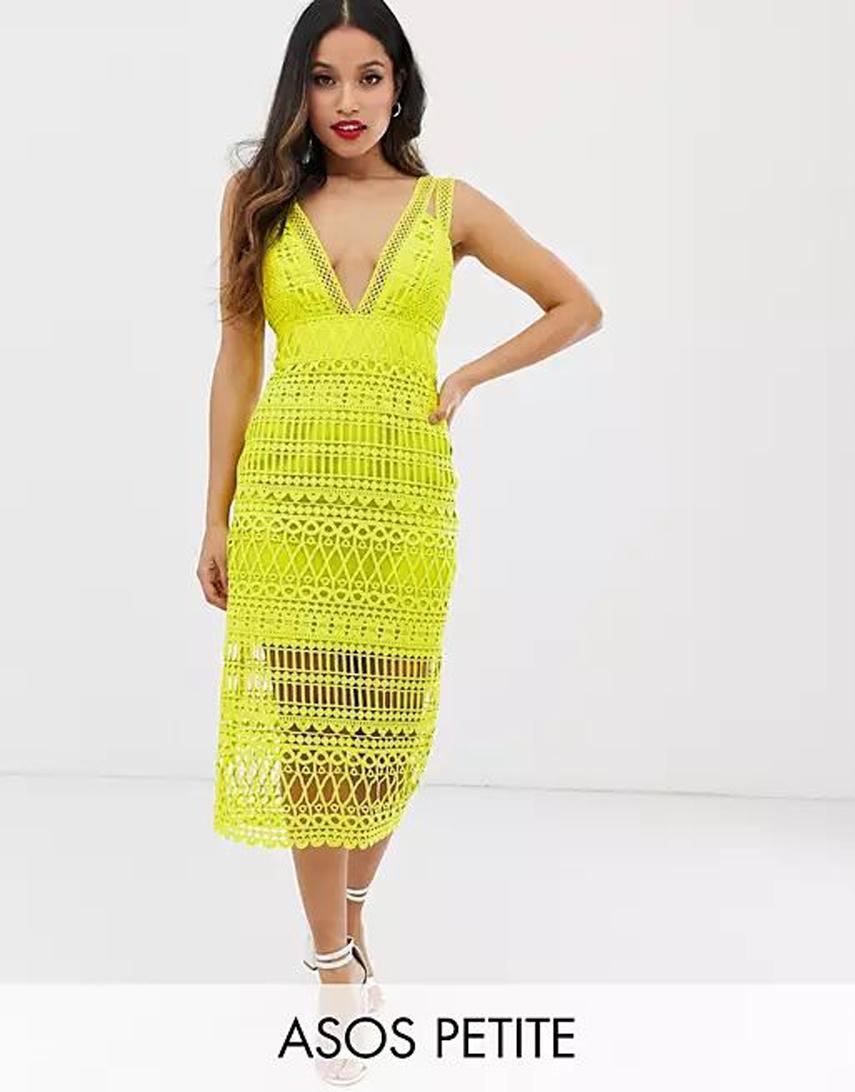 ASOS DESIGN Petite midi pencil dress in cutwork broderie