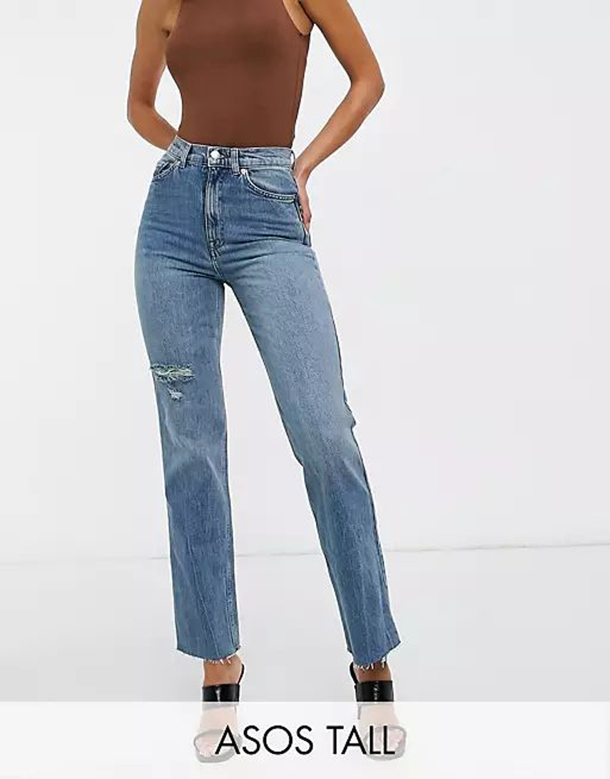 ASOS DESIGN Tall high rise stretch 'effortless' crop kick flare jeans in midwash with thigh rip