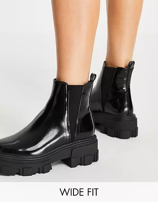 ASOS DESIGN Wide Fit Addy chunky chelsea boots in black