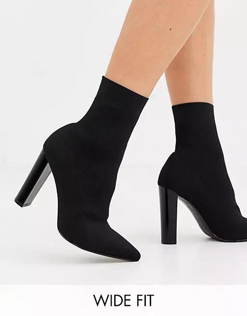ASOS DESIGN Wide Fit Enhance block heel sock boots in black knit