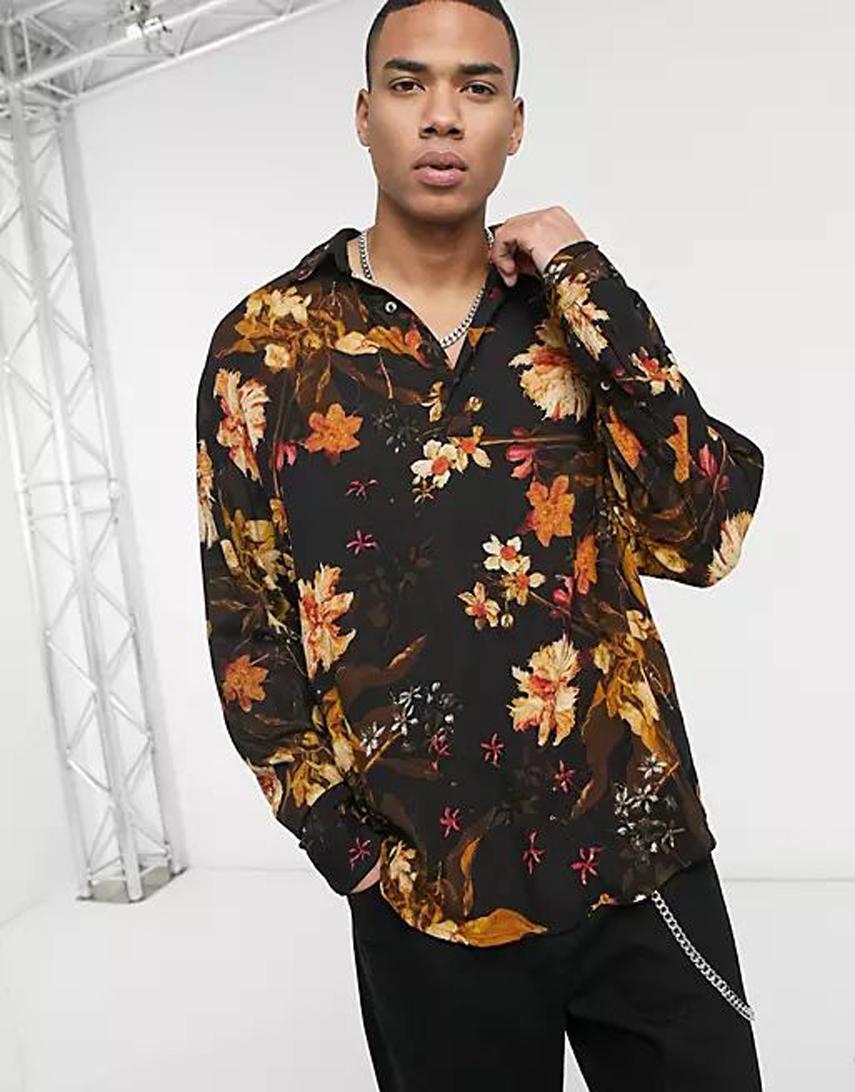 ASOS DESIGN black floral overhead shirt in crinkle fabric