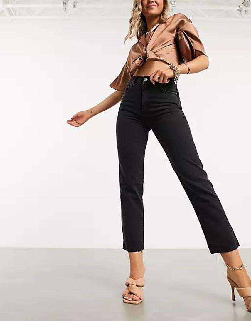 ASOS DESIGN high rise stretch 'effortless' crop kick flare jeans in black
