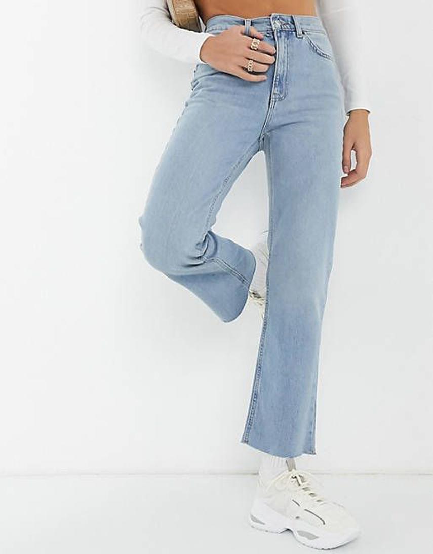 ASOS DESIGN high rise stretch 'effortless' crop kick flare jeans in lightwash