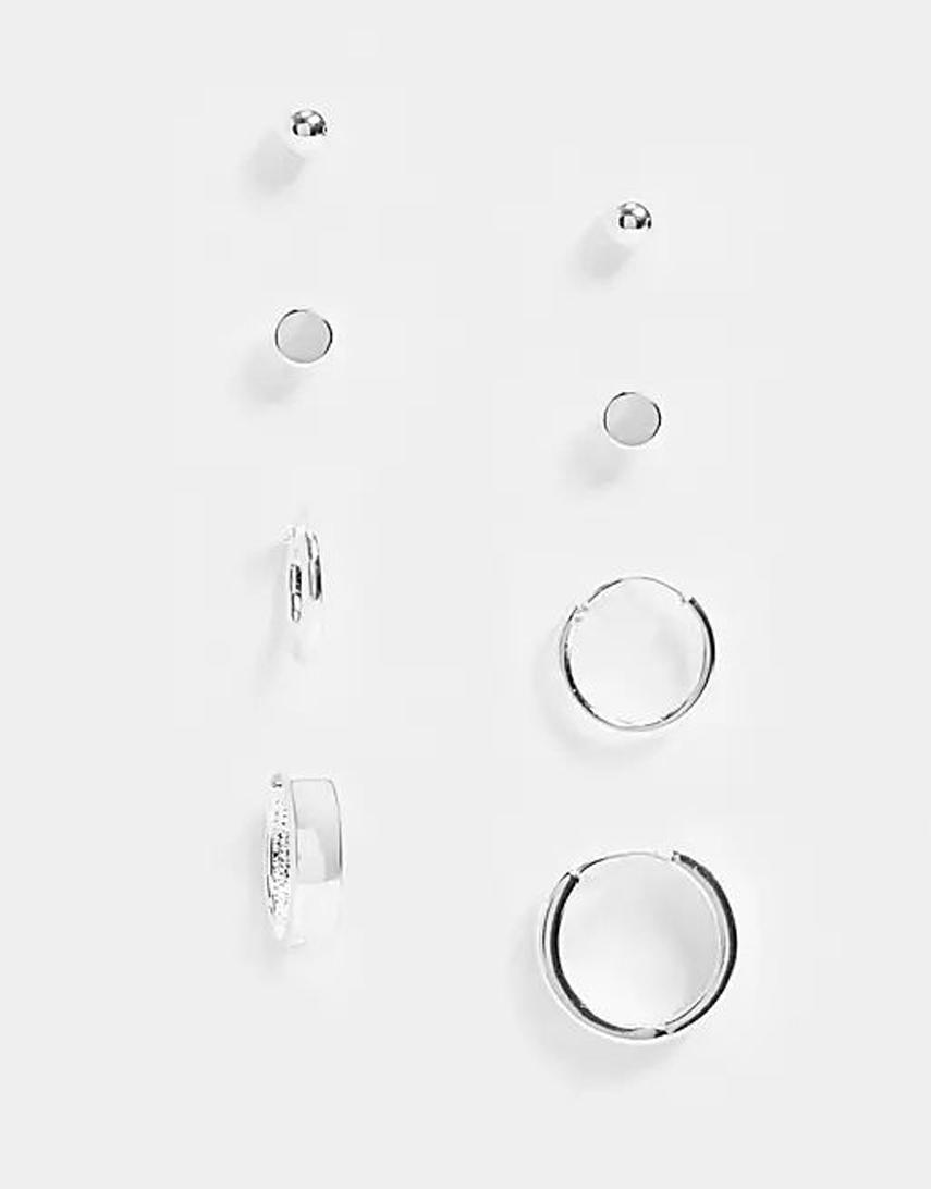 ASOS DESIGN hoop and stud earring pack in real silver plate