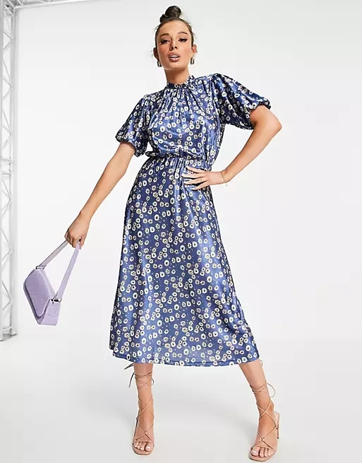 ASOS DESIGN midi tea dress with short sleeve in blue floral