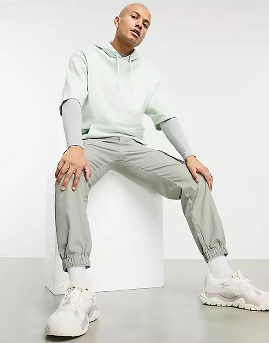 ASOS DESIGN oversized short sleeve hoodie in pastel green