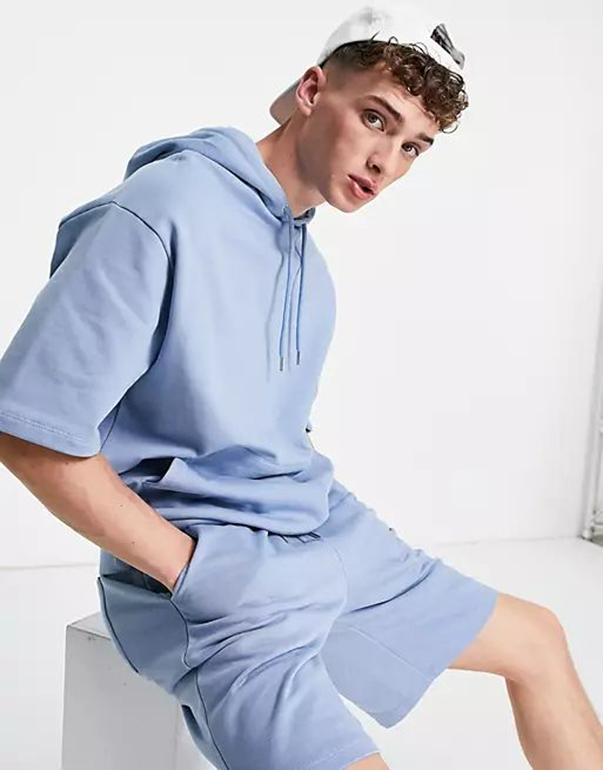 ASOS DESIGN oversized tracksuit with short sleeve hoodie and shorts in washed blue