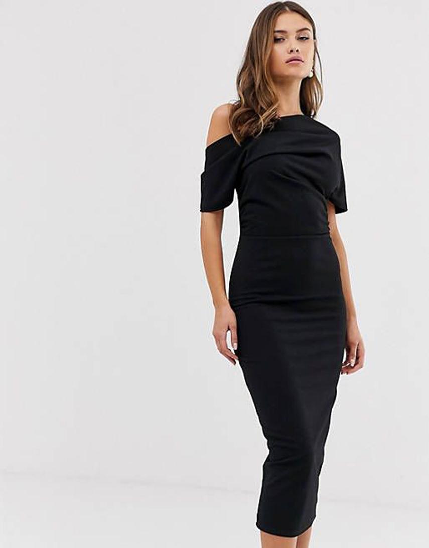 ASOS DESIGN pleated shoulder pencil dress in black