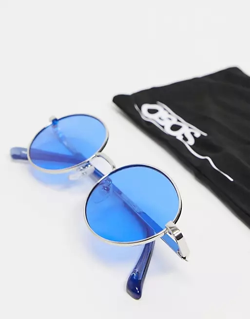 ASOS DESIGN round sunglasses in silver with blue lens and frame detail