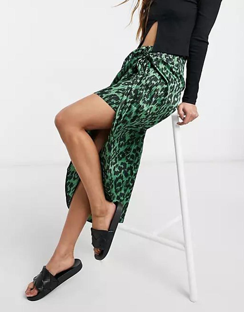 ASOS DESIGN satin wrap midi skirt in green animal print