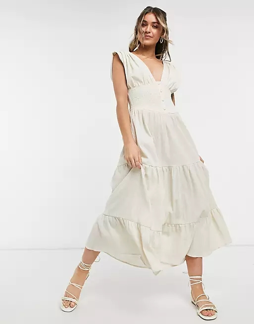 ASOS DESIGN shirred waist button front tiered midi sundress in crinkle in oatmeal