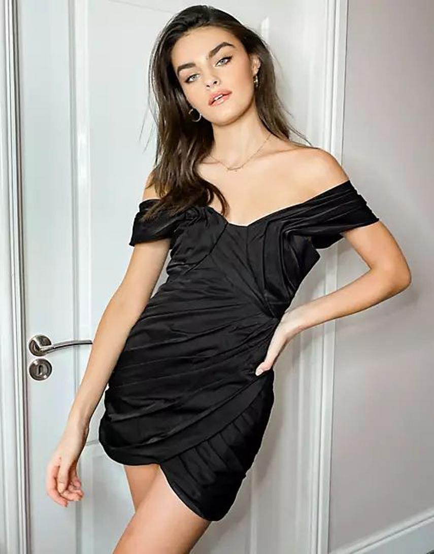 ASOS DESIGN structured pleated off shoulder mini dress