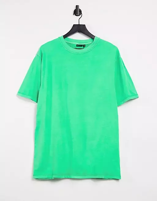 ASOS DESIGN super oversized t-shirt in neon green wash