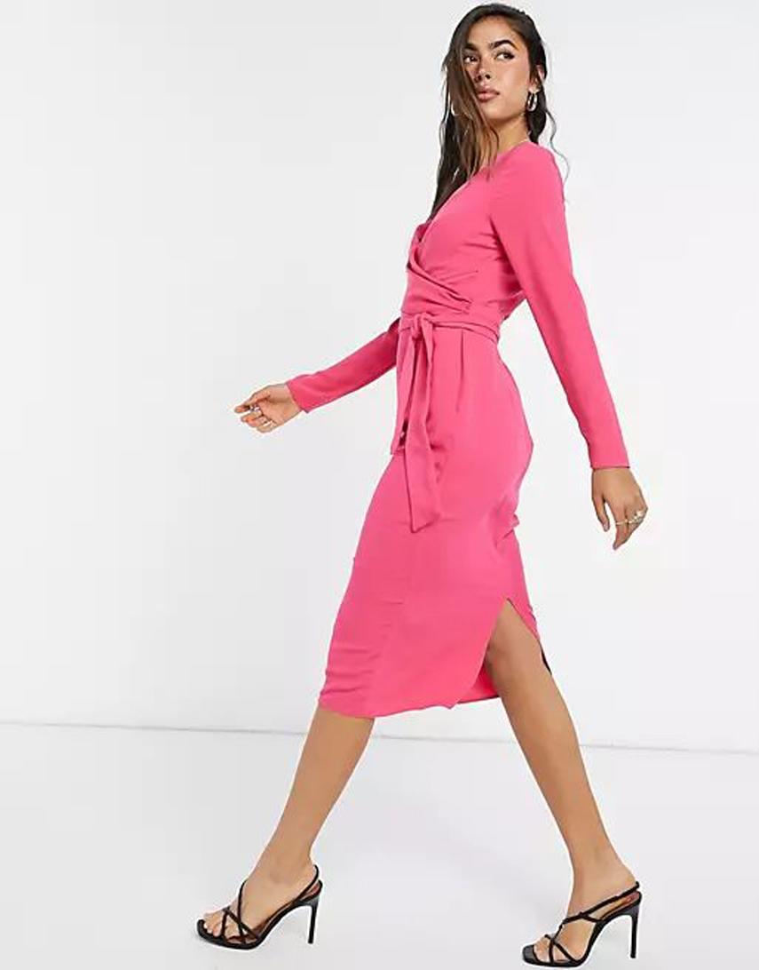 ASOS DESIGN tie wrap front midi pencil dress in hot pink